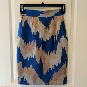 Tracy Reese Aegean Blue Slim Skirt (Size 4)